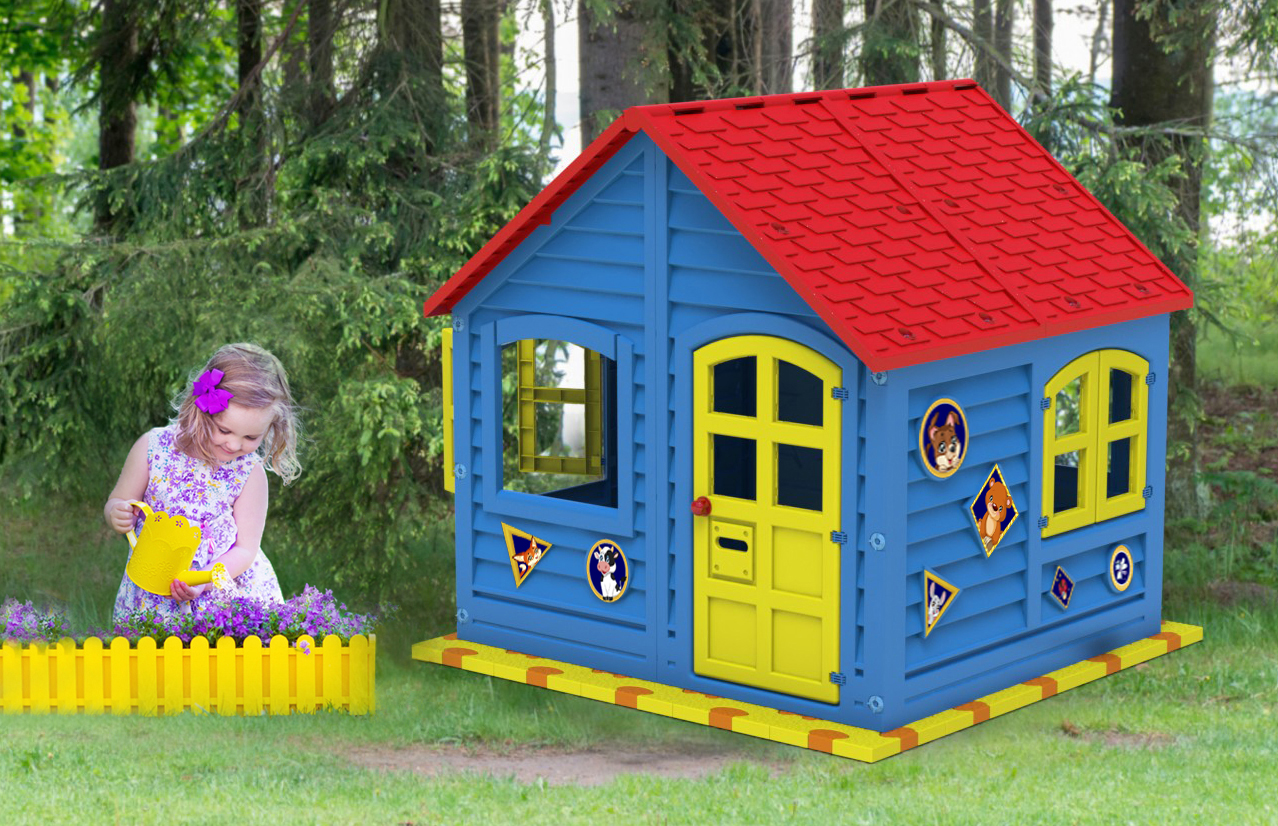 Площадка для детских домиков Puzzle Playground 125х125 см с домиком